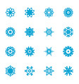 snowflake blue flat icon set vector image