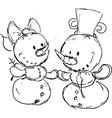 snowmen in love sketch vector image vector image