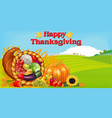 thanksgiving greeting card with cornucopia of vector image vector image