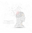 thinker man head and brain digitally drawn low vector image