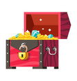 treasures chest gold coins and gemstones money and vector image