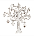 Tree with hearts labels vector image