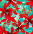 Tropical red frangipani hibiscus with palms vector image vector image