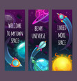 vertical space banners with trendy quotes cartoon vector image