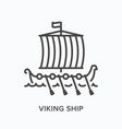viking ship flat line icon outline vector image vector image