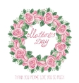 watercolor pink roses wreathmothers day card vector image vector image