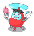 with ice cream helicopter character cartoon style vector image