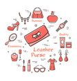 woman accessories concept with red leather purse vector image vector image
