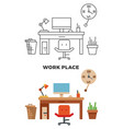 work place concept - flat style and thin line vector image