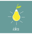 Pear lump bulb with green leaf ECO energy idea vector image