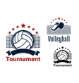 Volleyball emblems with balls whistle and nets