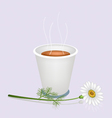 A Hot Coffee in Disposable Cup and White Daisy vector image vector image