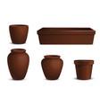 a set flowerpots different shapes vector image vector image