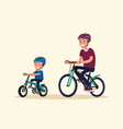 active holidays father and son are riding bikes vector image vector image