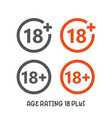 age rating 18 plus movie icon under 18 years sign vector image