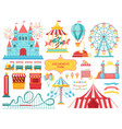 amusement park attractions carnival kids carousel vector image