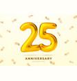 anniversary golden balloons number 25 vector image