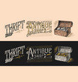 antique shop labels or badges book and camera vector image vector image