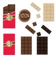 Bar of chocolate set Sealed and open wrap vector image vector image