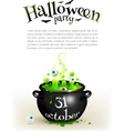 Black witches cauldron with green brew page vector image