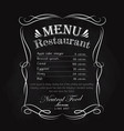 blackboard restaurant menu hand drawn frame vector image
