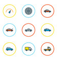 Car icons colored line set with crossover hood vector image
