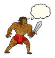 cartoon fantasy hero man with thought bubble vector image