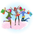 cartoon happy friends after big christmas shopping vector image vector image