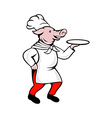 cartoon pig chef cook baker serving platter vector image vector image