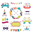 celebration carnival set icons decorations and vector image