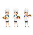 Chef woman set cute cartoon character cook with