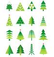 christmas green tree icon set vector image vector image