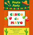 cinco de mayo invitation template flyer mexican vector image vector image