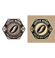 coffee bean emblem badge label or logo vector image vector image