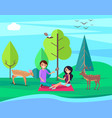 couple having picnic on nature at bank of river vector image
