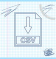 csv file document icon download csv button line vector image