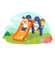 cute kids having fun on slide in playground vector image vector image