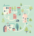 cute little town in cartoon style hello spring vector image
