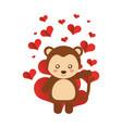 cute monkey hearts valentines day vector image vector image