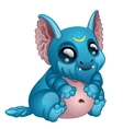 Cute toothy blue monster with big eyes and ears vector image vector image