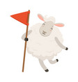cute white sheep character holding red flag funny vector image vector image