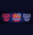 delivery pizza neon sign logo in neon style vector image vector image