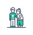 elderly people help - modern line icon vector image vector image