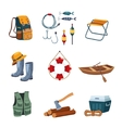 Fishing and Camping Equipment in Flat Design vector image