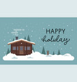 flat with lettering and white snowy vector image