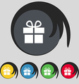 Gift box icon sign Symbol on five colored buttons vector image vector image