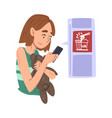 girl ordering wok over phone client buying vector image vector image