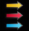 glassy arrows on black vector image