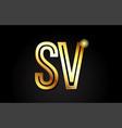 gold alphabet letter sv s v logo combination icon vector image vector image