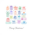 greeting card with colored christmas doodle gift vector image vector image